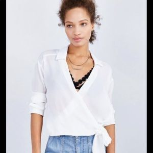 UO LUCCA White Blouse Tie Top Shirt Size S